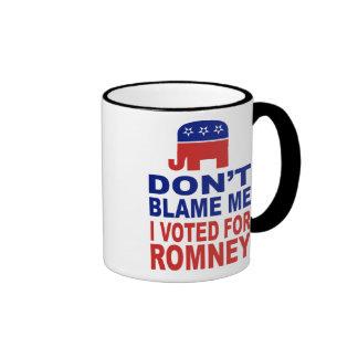 Don't Blame Me I Voted For Romney Ringer Mug