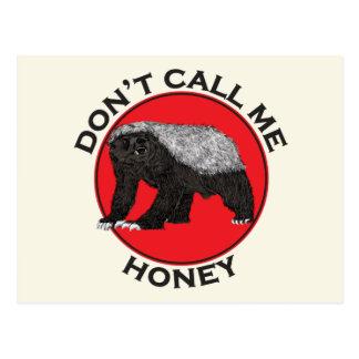 Don't Call Me Honey, Honey Badger Feminist Art Postcard