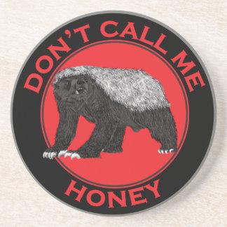 Don't Call Me Honey, Honey Badger Red Feminist Art Coaster