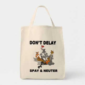 Don't Delay (Cat) Grocery/Tote Bag