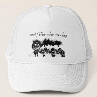 Don't follow them like sheep trucker hat