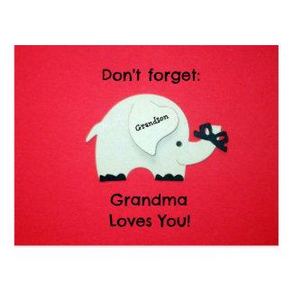 Don't forget: Grandma Loves You! Grandson Postcard