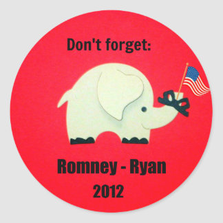 Don't forget: Romney - Ryan 2012 Classic Round Sticker
