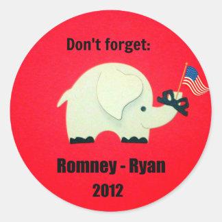 Don't forget: Romney - Ryan 2012 Round Sticker