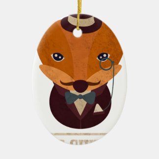 Dont Give A Fox Comic Animal Ceramic Oval Ornament
