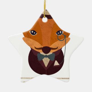 Dont Give A Fox Comic Animal Ceramic Star Ornament