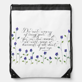 Don't give up inspirational typography verse drawstring bag