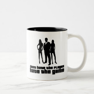dont hate the player, hate the game Two-Tone coffee mug