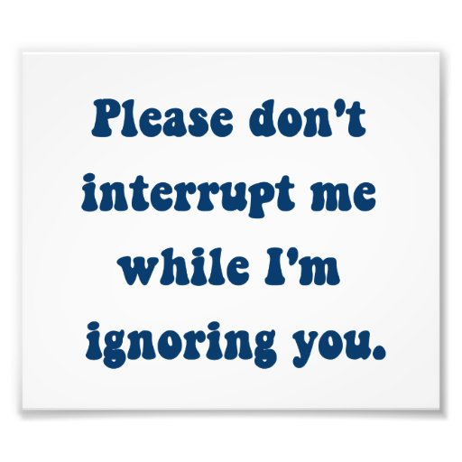 Don't Interrupt Me While I'm Ignoring You Photographic Print