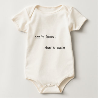 don't know; don't care baby bodysuit