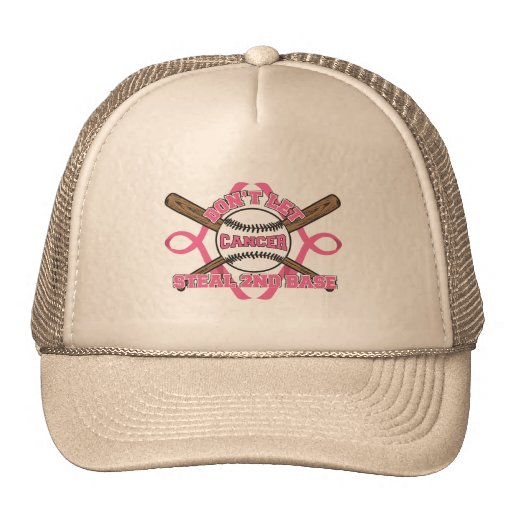 Don't Let Cancer Steal 2nd Base - Breast Cancer Mesh Hats