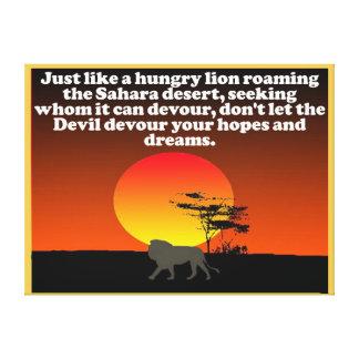 Don't let the Devil devour your expectations! Canvas Print