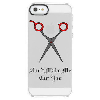 Don't Make Me Cut You (Red Hair Cutting Scissors) Clear iPhone SE/5/5s Case