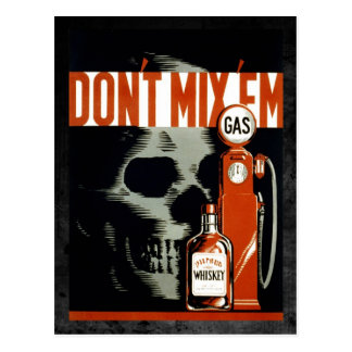Don't Mix 'Em - Don't Drink and Drive Postcard