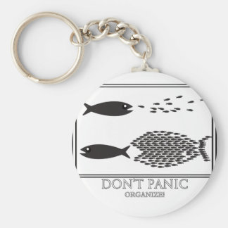 Dont' Panic be Organize! Basic Round Button Keychain