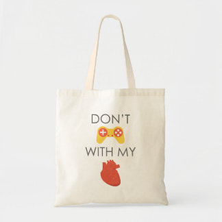 Don't play with my heart flat design budget tote bag