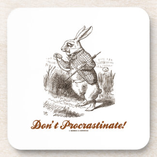 Don't Procrastinate! (White Rabbit Wonderland) Drink Coasters