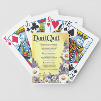 dont quit=inspirational poem bicycle playing cards