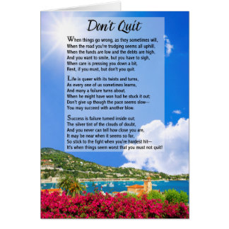 Don't Quit Poem Card