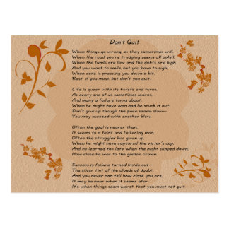 Don't Quit poem - postcard