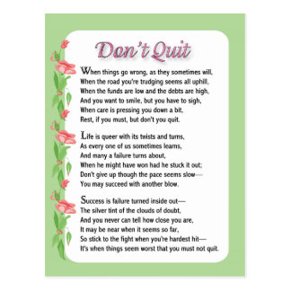 Don't Quit Poem Postcard
