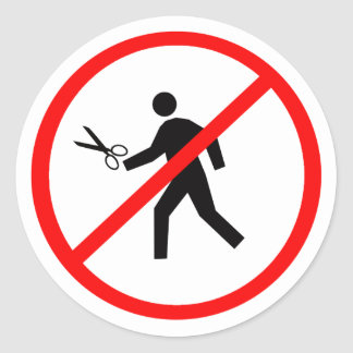 Don't run with scissors! classic round sticker