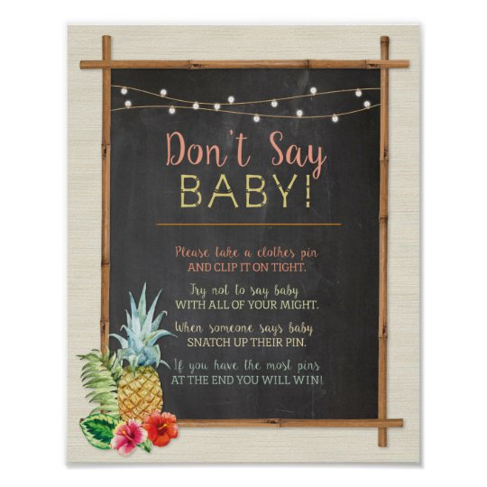 Don't Say Baby Luau Aloha Shower Poster