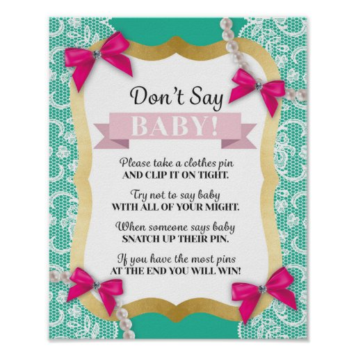 Don't Say Baby Pink Mint Pearls Lace Shower Poster