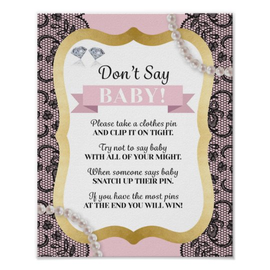 Don't Say Baby Pink Pearls Black Lace Poster