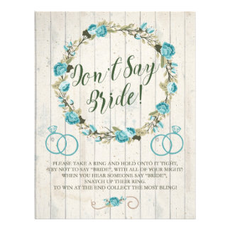 Don't Say Bride! Bridal Shower Game Personalized Flyer