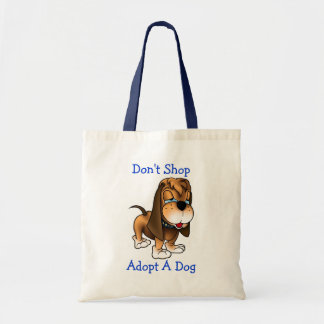 Don't Shop Adopt A Dog Basset Hound Puppy Dog Tote Bag