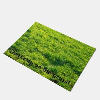 """Don't step on the grass!"" Fun Grass Print Doormat"