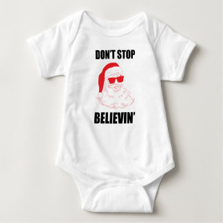 Don't Stop Believin' Santa with Sunglasses Baby Baby Bodysuit