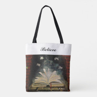 """""""Don't Stop Believing."""" All-Over-Print Tote Bag"""