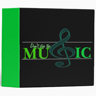Don't Stop The Music Green Accent Binder