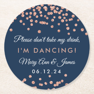 Don't Take My Drink! Rose Gold Confetti Navy Blue Round Paper Coaster