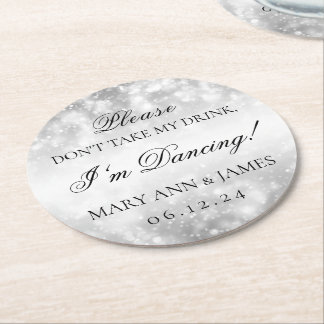 Don't Take My Drink! Silver Shimmer Lights Round Paper Coaster
