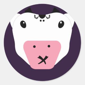 Don't Tell Secret Cute Kawaii Cow Classic Round Sticker