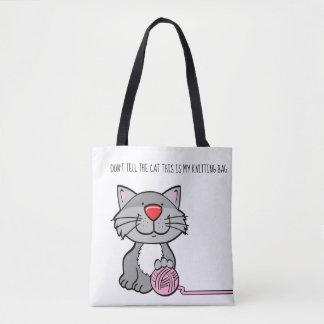 Don't Tell The Cat Yarn Crochet Knitting Bag Tote