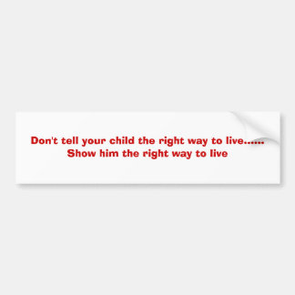 Don't tell your child the right way to live....... bumper sticker