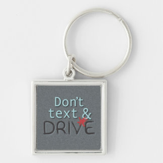 Dont Text While Driving Silver-Colored Square Keychain