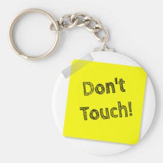 Don't touch basic round button keychain
