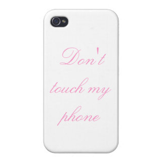 Don't touch my phone 3 - pink on white - cover for iPhone 4