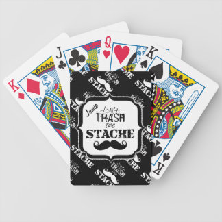 Don't Trash the Stache Mustache Retro Hipster Bicycle Playing Cards