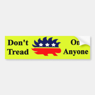 Don't Tread On Anyone with Libertarian porcupine Bumper Sticker