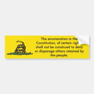 Don't Tread On Me 9th Amendment Bumper Sticker