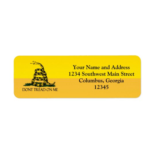 Don't Tread on Me, Yellow Gadsden Flag Ensign Return Address Label