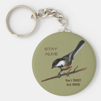 Don't Tweet & Drive: Bird: Color Pencil Art Basic Round Button Keychain
