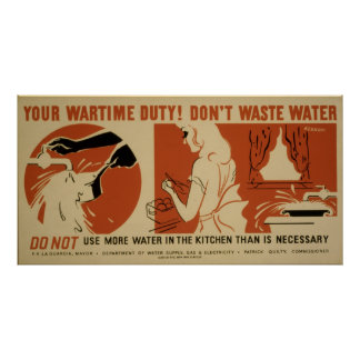 Dont Waste Water Kitchen Vintage WPA Poster