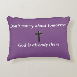 Don't Worry Accent Pillow w/Black Cross